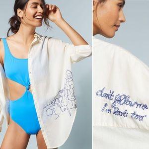 Anthropologie | Allihop Embroidered Beach Shirt